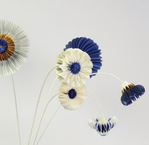 paper flowers blue white and gold