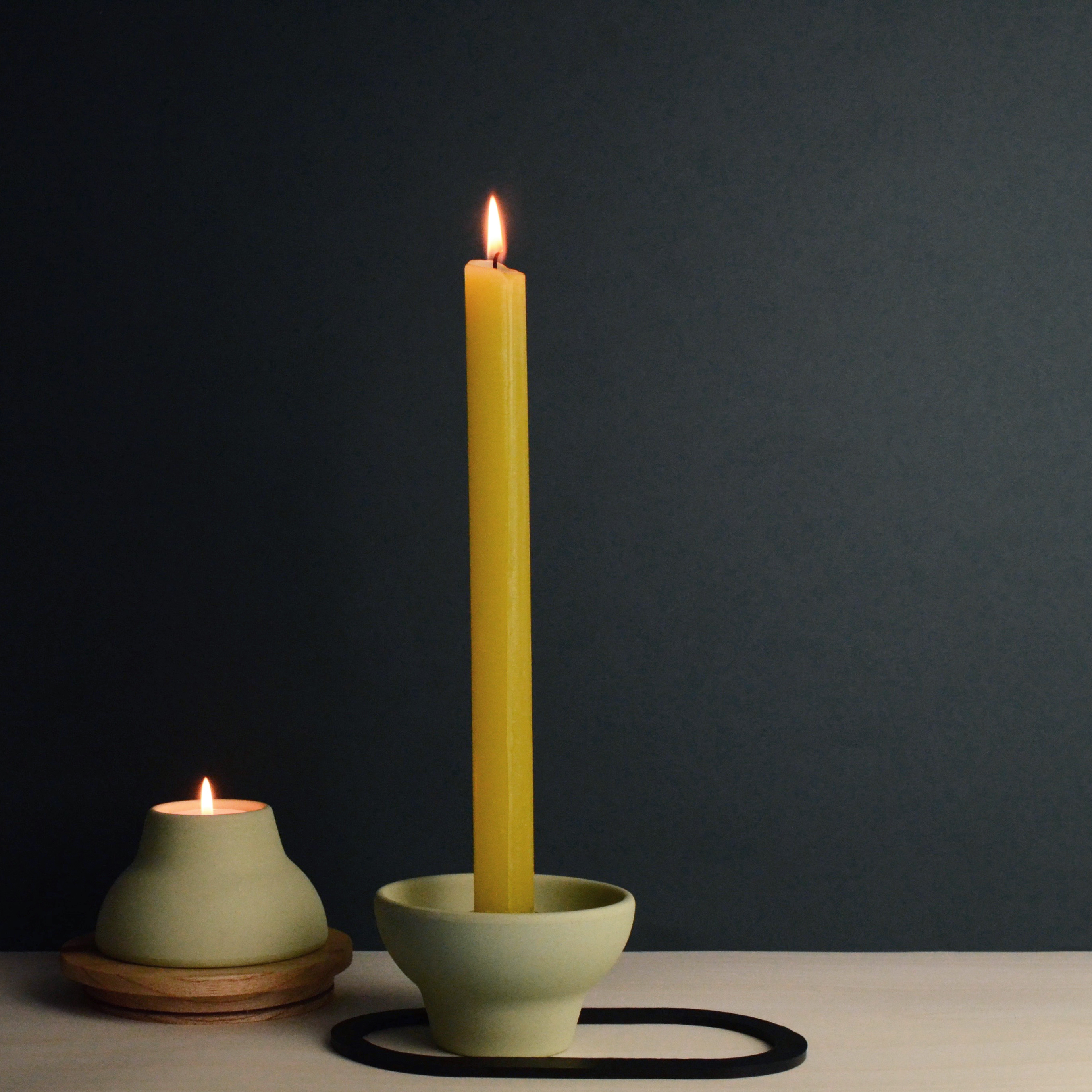 double up candleholder green