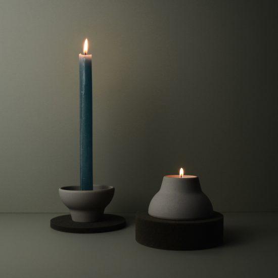 double up candleholder grey
