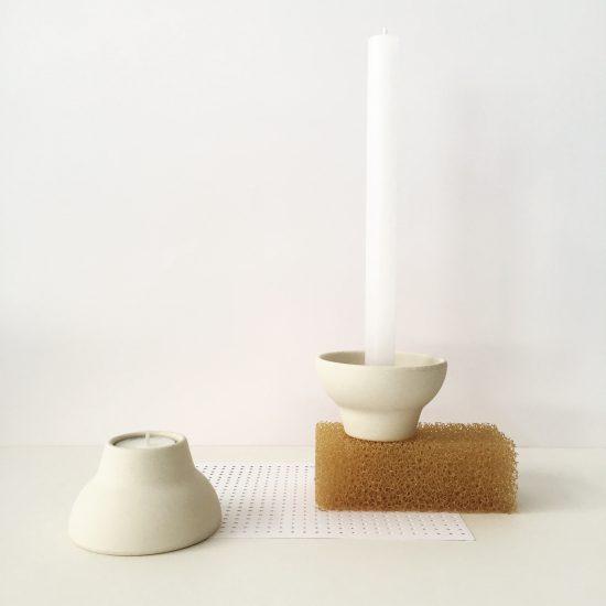 double up candleholder white