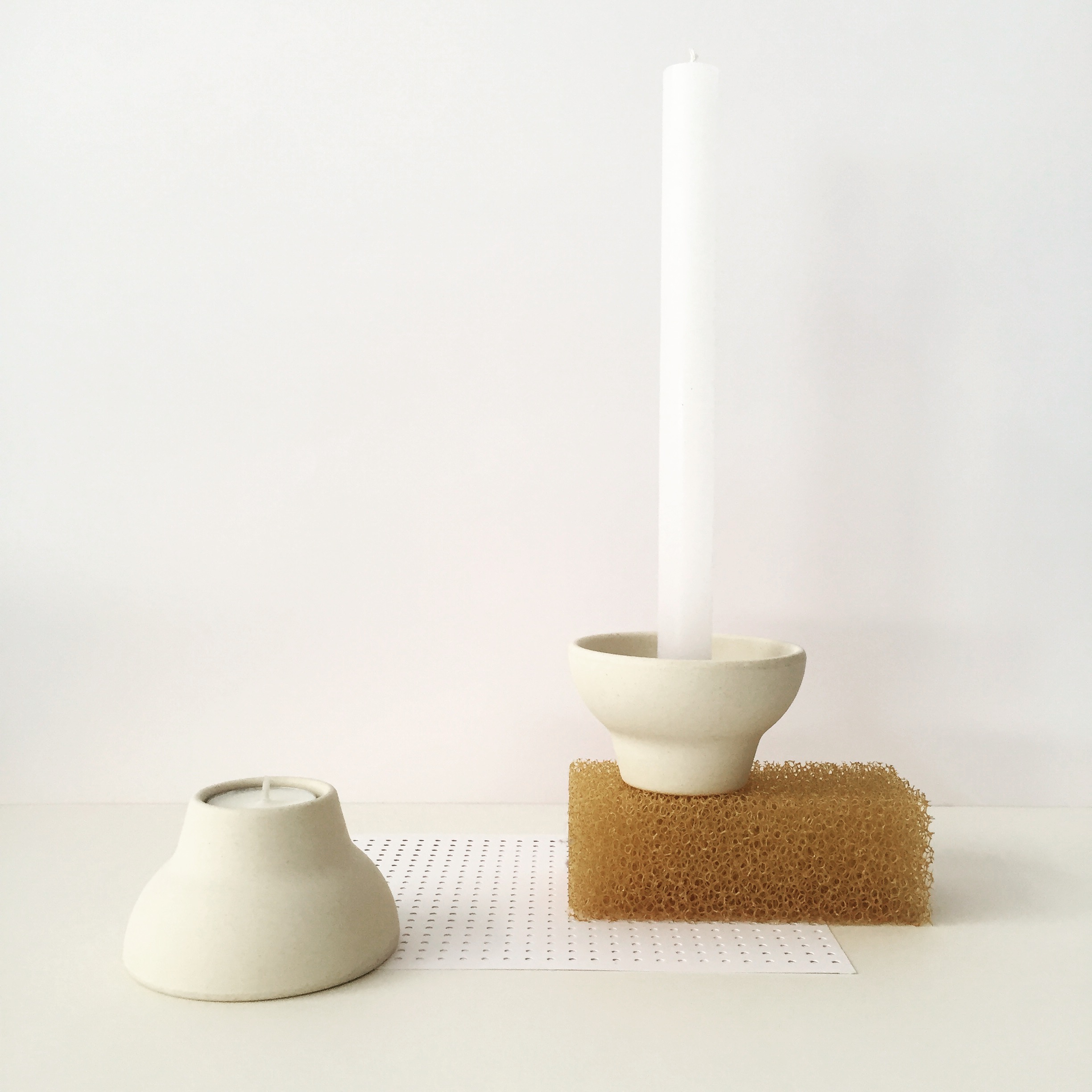 double up candleholder white