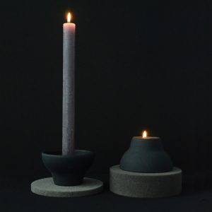double up candleholder black