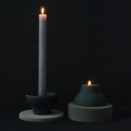 double up candleholder black