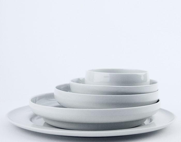 white rabbits tableware set stack