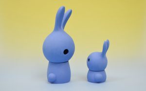 Cuniculus large and small with body, blue