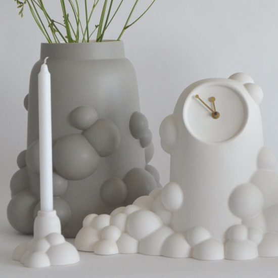 bubble collection, small candleholder, large vase, clock