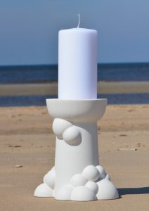 Bubble candleholder large white, on the beach