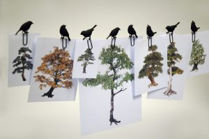 birds on a wire paper clip black
