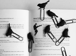 birds on a wire, black bookmark